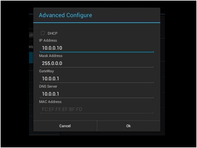 Настройка параметров сетевой карты в Android