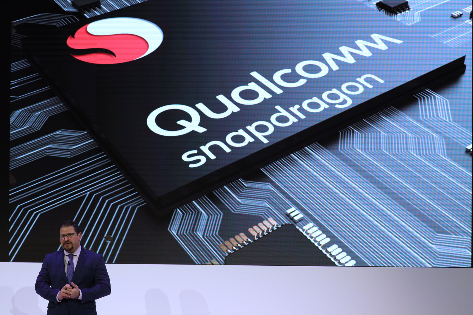Cristiano Amon, President of Qualcomm Incorporated, delivers a presentation during the Mobile World Congress in Barcelona